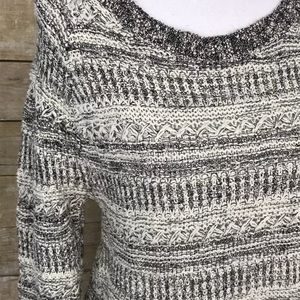 Lucky Brand Womens Grey White Knitted Sweater Sz M